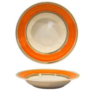 Farfurie adanca ceramica 21cm cu dunga orange