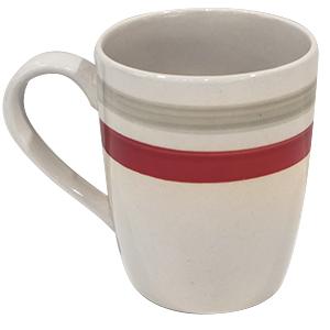 Cana ceramica 390ml cu dunga rosie