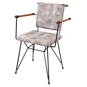 Scaun metalic RAKI PENNY cu sezut lemn si perna negru MN0146128